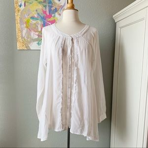 Free People Tops - Free People Open Back Lace Front Button Tunic